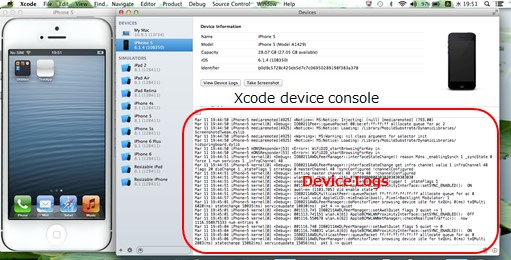 view device logs in Xcode
