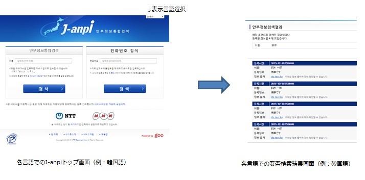j-anpi_多言語でのトップ画面・安否検索結果画面(例:韓国語)