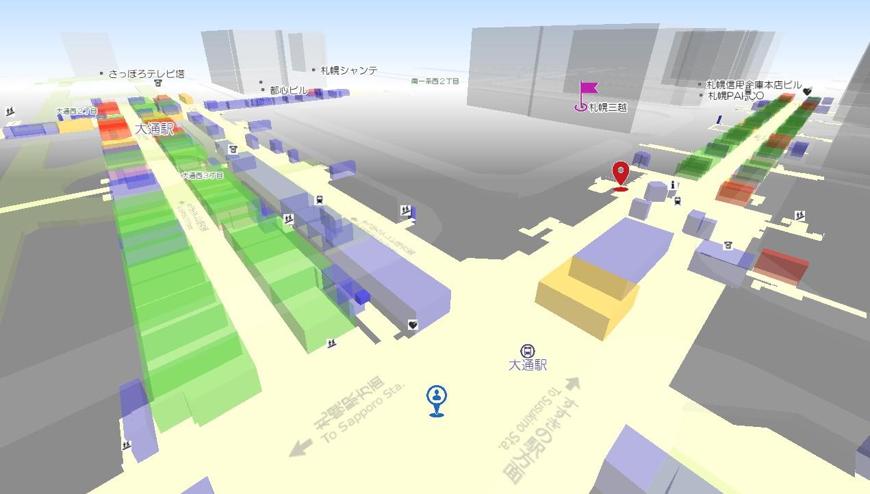 「札幌地下街透過マップ」イメージ