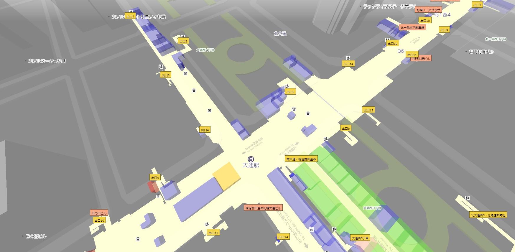大通り駅付近を地上から見た場合のイメージ
