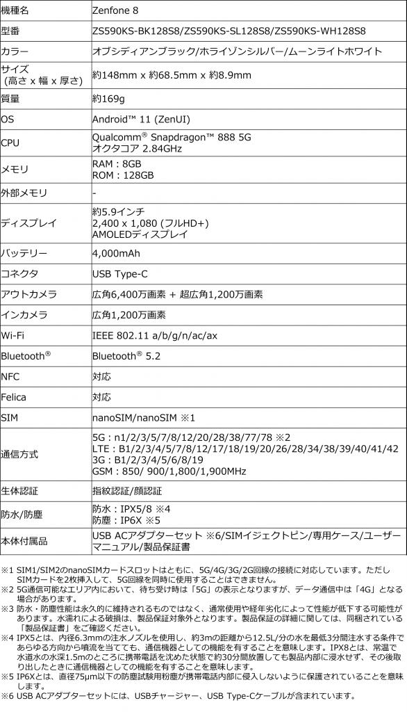 スペック表_Zenfone 8